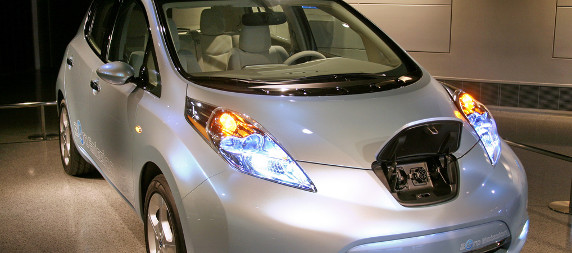 Nissan Leaf in a showroom