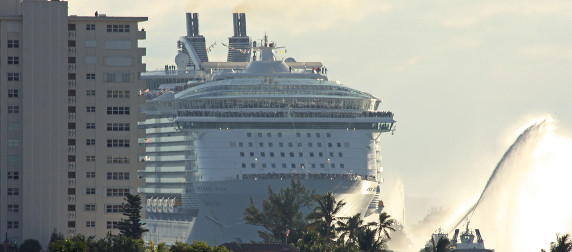 Oasis of the Seas cruise ship coming into Port Everglades near condo building