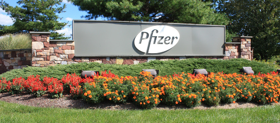 Pfizer sign resting on a stone wall with landscaping below