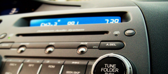 close-up of a car radio