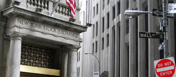 New York Stock Exchange facade and a Do Not Enter sign