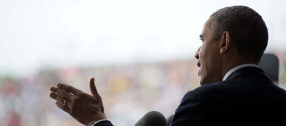 President Obama speaking at West Point in May 2014