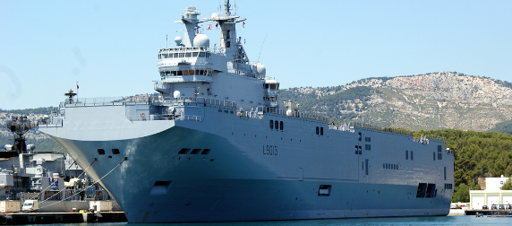 A Mistral-class ship in harbor