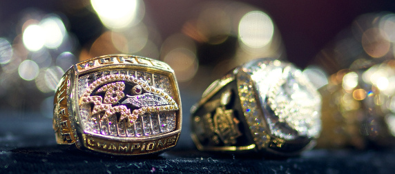 Baltimore Ravens Super Bowl rings from Super Bowl XXXV on display