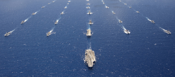 ships engaged in naval exercises