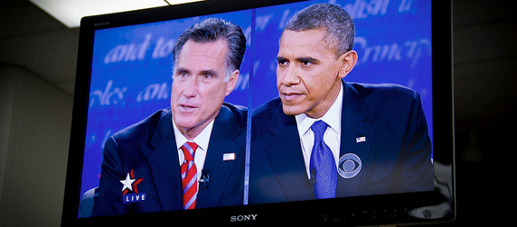 a Sony TV displaying Mitt Romney and Barack Obama during the October 22, 2012 presidential debates