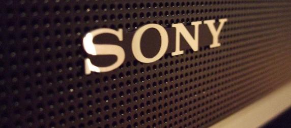 closeup of a Sony logo on a TV