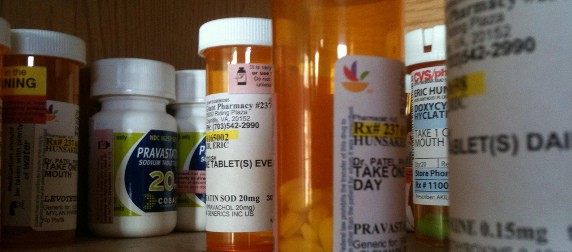close-up of prescription medication bottles on a shelf