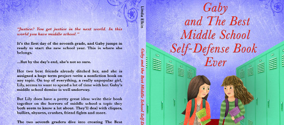 cropped view of book cover, back and front, of 'Gaby and The Best Middle-School Self-Defense Book Ever'