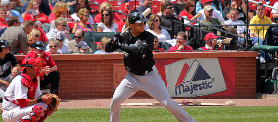 Giancarlo Stanton at bat with Gerald Laird playing catcher