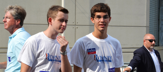 two young men wearing Romney 2012 campaign t-shirts