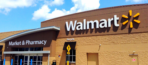 exterior of a Walmart store on a sunny day