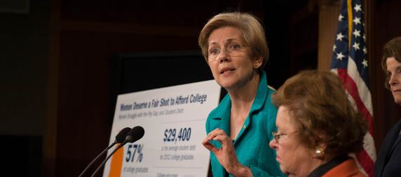 Sen. Elizabeth Warren speaking at a podium
