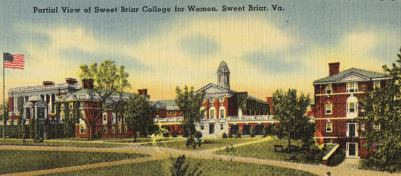 vintage post card image of Sweet Briar College