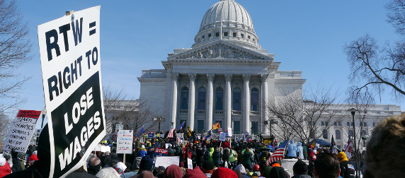 protest outside the Wisconsin State Capitol