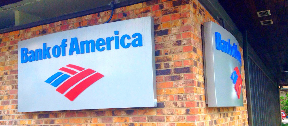 Bank of America signs mounted on brick walls