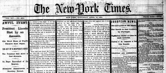 The New York Times' front page, detail, April 15, 1865