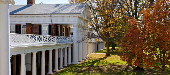 facade with columns in the Academical Village facing onto the lawn, with autumn foliage, at the University of Virginia