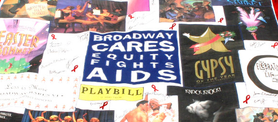 AIDS Memorial Quilt square featuring Broadway Cares/Equity Fights AIDS logo along with Broadway posters and signatures