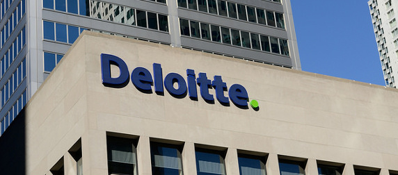 sign detail of Deloitte building in Toronto