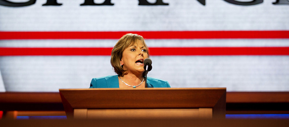 Susana Martinez speaking into a microphone