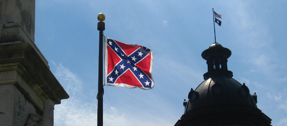 Confederate battle flag in front of the South Carolina Statehouse