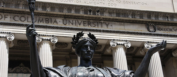 detail of the 'Alma Mater' statute on Columbia University's campus, viewed from below