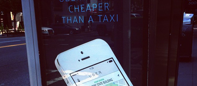 Uber street advertisement (detail)