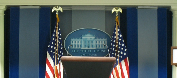 White House press briefing room, empty