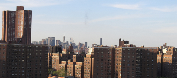 Alfred E. Smith Houses, with Manhattan skyline in the background
