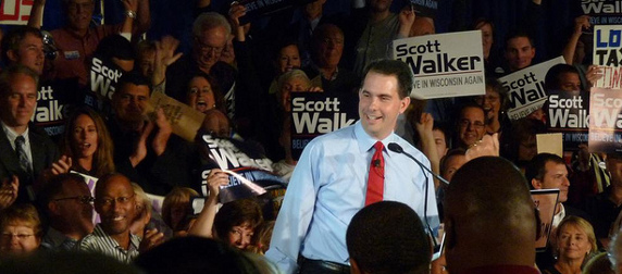 Scott Walker with a crowd of supporters in 2010