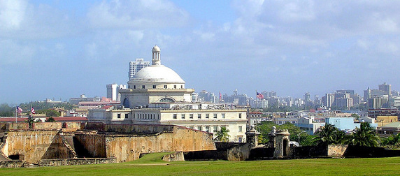 the Capitol of Puerto Rico, viewed from Castillo San Cristobal