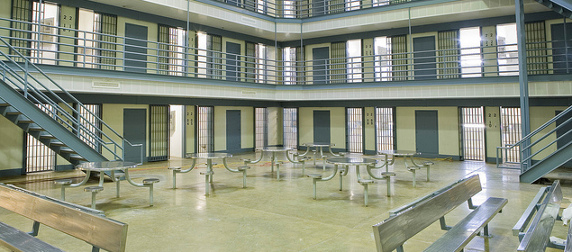 cell block common area with tables and benches, Ouachita River Correctional Unit, Malvern, Arkansas