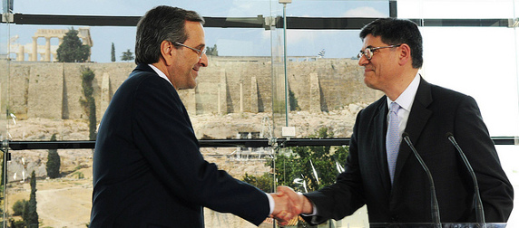 Jack Lew and Antonis Samaras shaking hands
