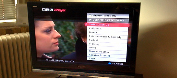 TV displaying a menu for BBC's iPlayer system
