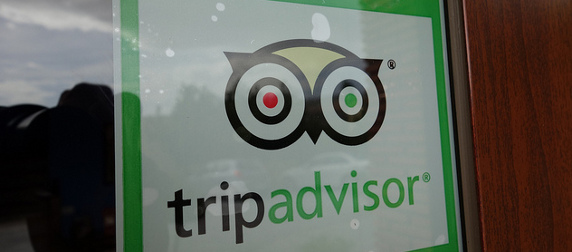 a TripAdvisor sticker in a window