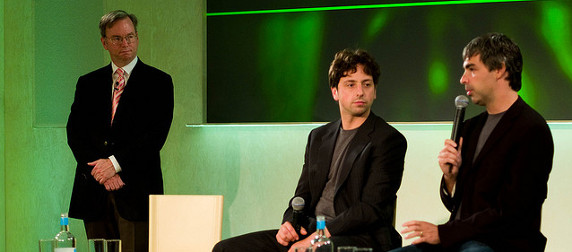 Eric Schmidt, Sergey Brin, and Larry Page