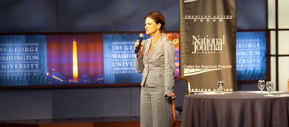 Jennifer Palmieri speaking at George Washington University