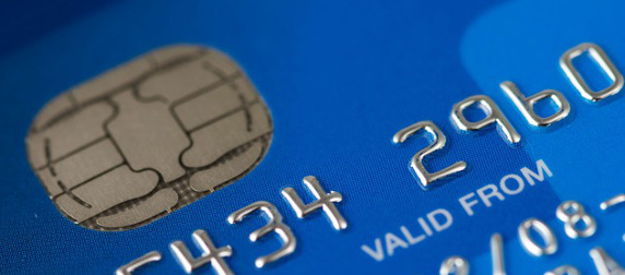 close-up of a credit card microchip - EMV
