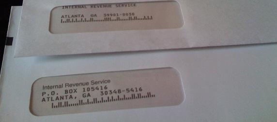 two envelopes addressed to the IRS