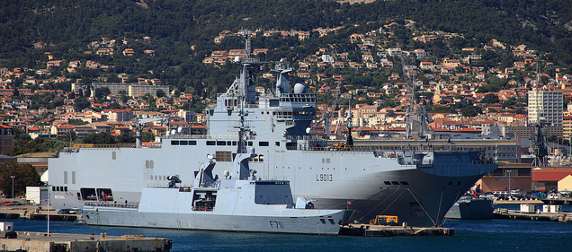 Mistral-class ship in harbor in Toulon, France