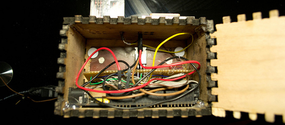 the interior of a homemade digital clock