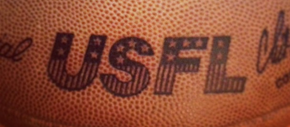 logo detail on a USFL football by Wilson