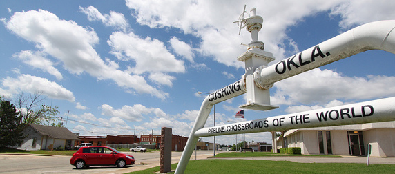 Cushing, Oklahoma City Hall, with structure reading Cushing Okla., Pipeline Crossroads of the World