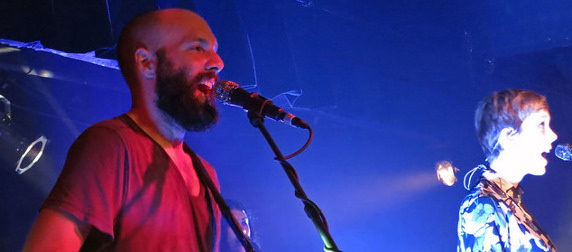 The band Pomplamoose performing a live show