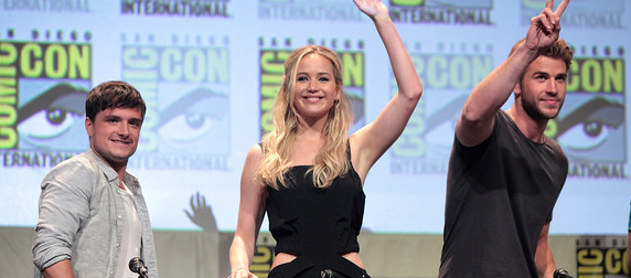 Josh Hutcherson, Jennifer Lawrence and Liam Hemsworth at San Diego Comic Con