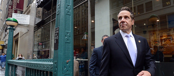 Gov. Andrew Cuomo exiting the subway at Penn Station, New York City