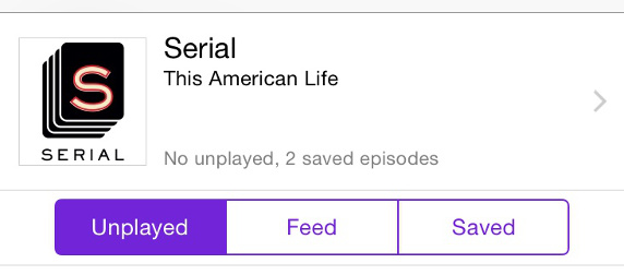 screencap of Serial by This American Life, with logo, and options buttons