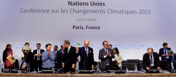 French Foreign Minister Laurent Fabius banging the gavel at the 2015 Paris Climate Conference