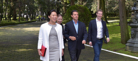 Priscilla Chan and Mark Zuckerberg with Enrique Pena Nieto outdoors